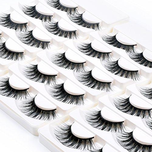 Wleec Beauty Dramatic Eyelashes Set Natural Long Strip Lashes Handmade False Eyelash Pack #27 (15 Pairs/3 (Eyelash Set)