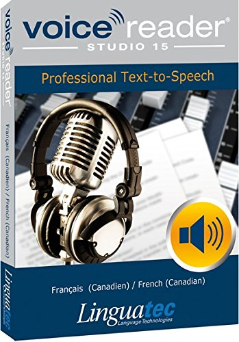 - Voice Reader Studio 15 Français (Canadien) / French (Canadian) - Professional Text-to-Speech Software (TTS) for Windows PC / Convert any text into audio / Natural sounding voices / Create high-quality audio files / Large variety of applications: E-learning; Enrichment of training documents or advertising material; Traffic announcements, Telephone information systems; Voice synthesis of documents; Creation of audio books; Support for individuals with sight disability or dyslexia / Pronunciation can be customized via user dictionaries / Cost-efficient alternative to recording studios / Available in 45 languages / Direct Integration in Microsoft® Word, Outlook and Power Point / This version contains 2 female voices and 1 male voice