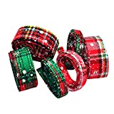 Dovewill 6 Pieces Assorted 1 Yard Cotton Ribbons Trim for Christmas Xmas DIY Kids Hair Bow Crafts 10mm/25mm