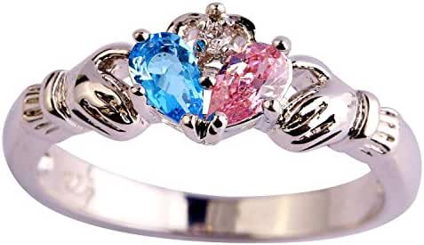 Psiroy 925 Sterling Silver Grace Womens Band Charms Gorgeous 3mm*5mm Pear Cut Cz Created Blue Topaz Filled Ring