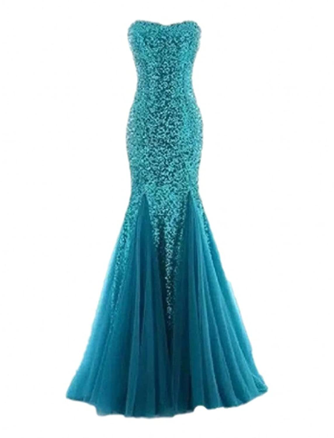 Anslee May Sparkly Sequins Evening Prom Ball Gown Mermaid Long ...