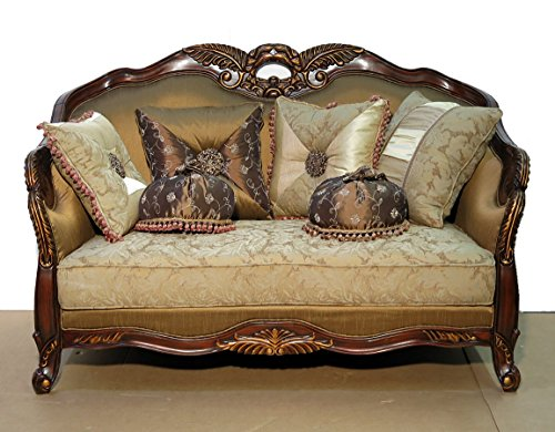 Cherry / Gold French Style Provincial Upholstered Loveseat w/ Pillows