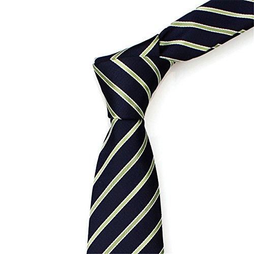 HXCMAN 7cm azul marino verde rayas corbata diseño clásico 100 ...