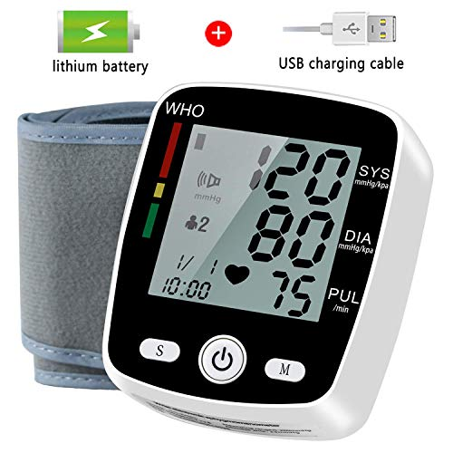 Wrist Blood Pressure Monitor, Blood Pressure Cuff with USB Charging, Automatic Digital Home BP Monitor Cuff – Accurate, Adjustable Cuff, Intelligent Voice – Irregular Heartbeat & Hypertension Detector
