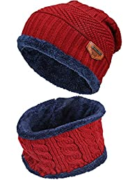 Kids Boys Girls Winter Warm Knit Beanie Hat and Scarf Set with Fleece Lining f899bf355d1a
