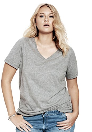 Womens Plus V-neck Shirt (Roamans Ultimate Tee Women's Plus Size V-Neck Ultimate Tee Medium Heather Grey,3X)