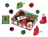 Cat Toy Holiday Gift Box 10 Piece Set Kitty Entertainment Pack BULK LOTS TOO!(4 Gift Sets Red/Green Set)