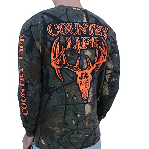 Country Life Orange Deer Skull Tree Camo Long Sleeve Shirt (Large)