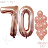 70 yr old birthday - Rose Gold 70 Number Balloons - Large, 7 and 0 Mylar Rose Gold Balloons, 40 Inch | Extra Pack of 10 Latex Baloons, 12 Inch | Great 70th Birthday Party Decorations| 70 Year Old Rose Gold Party Supplies