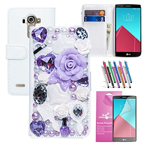 Ships Floral Large Bow (EpicGadget(TM) For LG G4 Bling Bling Luxury Leather Case with Fairy Tale Lavender Design Flip Folio Stand Wallet Cover + HD Clear LG G4 Screen Protector AND 1 x Random Color Long Stylus Pen (US Seller!!) (Light Purple Fairy Floral Leather Case))