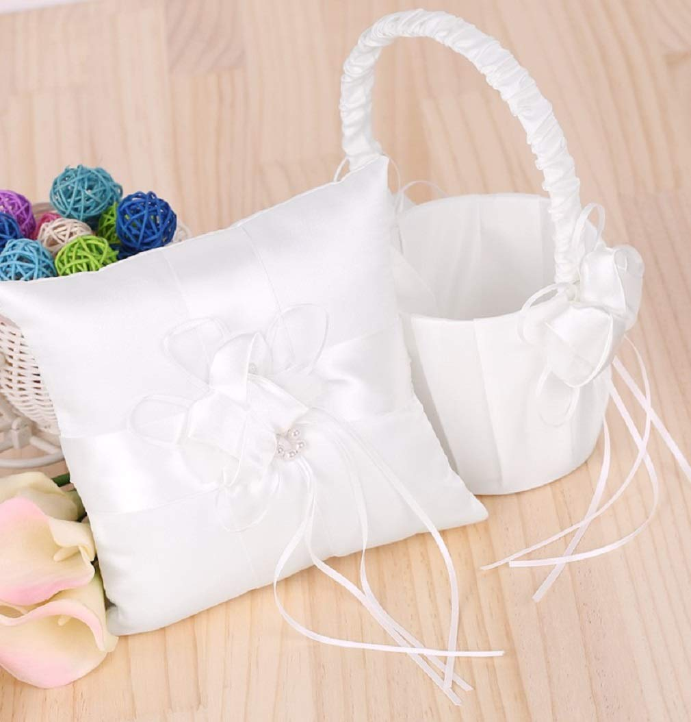 Wedding Satin Faux Pearl Flower Pocket Ring Bearer Pillow and Flower Basket set-Ivory