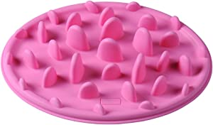 Sundlight Interactive Slow Feeder Dog and Cat Bowl for Fast Eaters,Non-slip Bottom,Food Grade Silicone Anti-gulp Dog Bowl,Pink,Size S