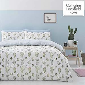 Catherine Lansfield Cactus fácil Cuidado Juego de Funda nórdica poliéster, Verde, King
