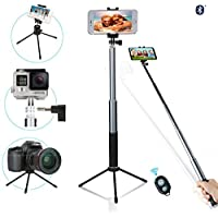 Selfie Stick with Tripod,NewRoad Extentable Selfie Stick with 360 Rotation Metal Phone Tripod and Wireless Remote for Gopro, Digital Cameras and Cell Phone(Andriod &IOS)