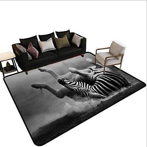 AlEASYHOME Non Slip Pad Rug Carpet, Zebra Rolling in The Dust Artistic Savage Animal Mammal Activity Eco Photo, 19.5