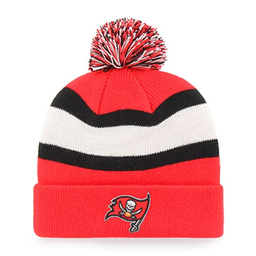 NFL Tampa Bay Buccaneers Rush Down OTS Cuff Knit Cap with Pom, Torch Red, One Size
