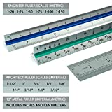 "Artellius 12"" Architectural and Engineer Scale Ruler Set (Professional Grade Metal) Color Coded"