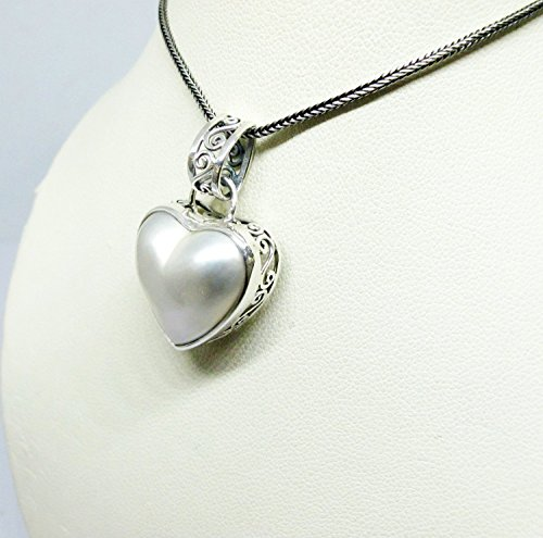 handmade 925 sterling silver pendant with heart shape premium white mabe pearl, white mabe pearl pendant, genuine mabe pearl necklace pendant, unique side carving