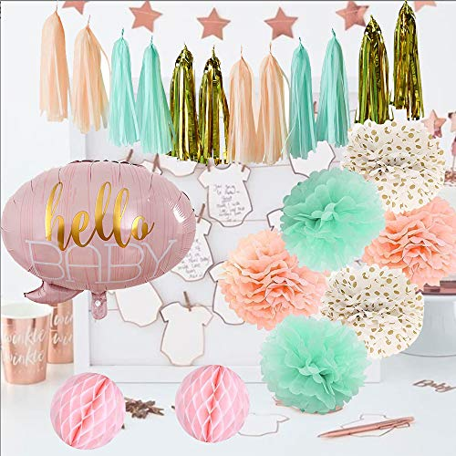 - Mint Green Peach Cream Glitter Gold Baby Shower Decorations Pom Poms Tassel Paper Dot Garland Kit Hello Baby Letters Balloons Gender Neutral Party Decoration