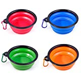 BalataHome 4 Packs Collapsible Dog Bowls Portable Pet Food Water Feeding Folded Travel Bowl with a Metal Carabiner