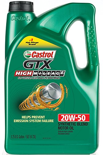 Castrol 03112 gtx high mileage 20w 50 synthetic blend for Best high mileage synthetic motor oil