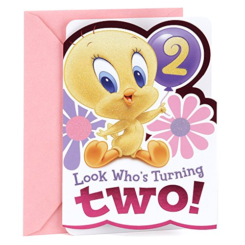 Hallmark 2nd Birthday Greeting Card for Girls (Baby Looney Tunes Tweety) - Happy Birthday Tunes