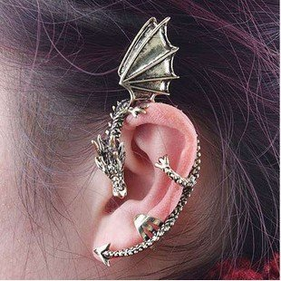 Fashion Earrings Classic Dragon Ear Wrap Cuff Earring Punk Rock Left Ear (antique silver)