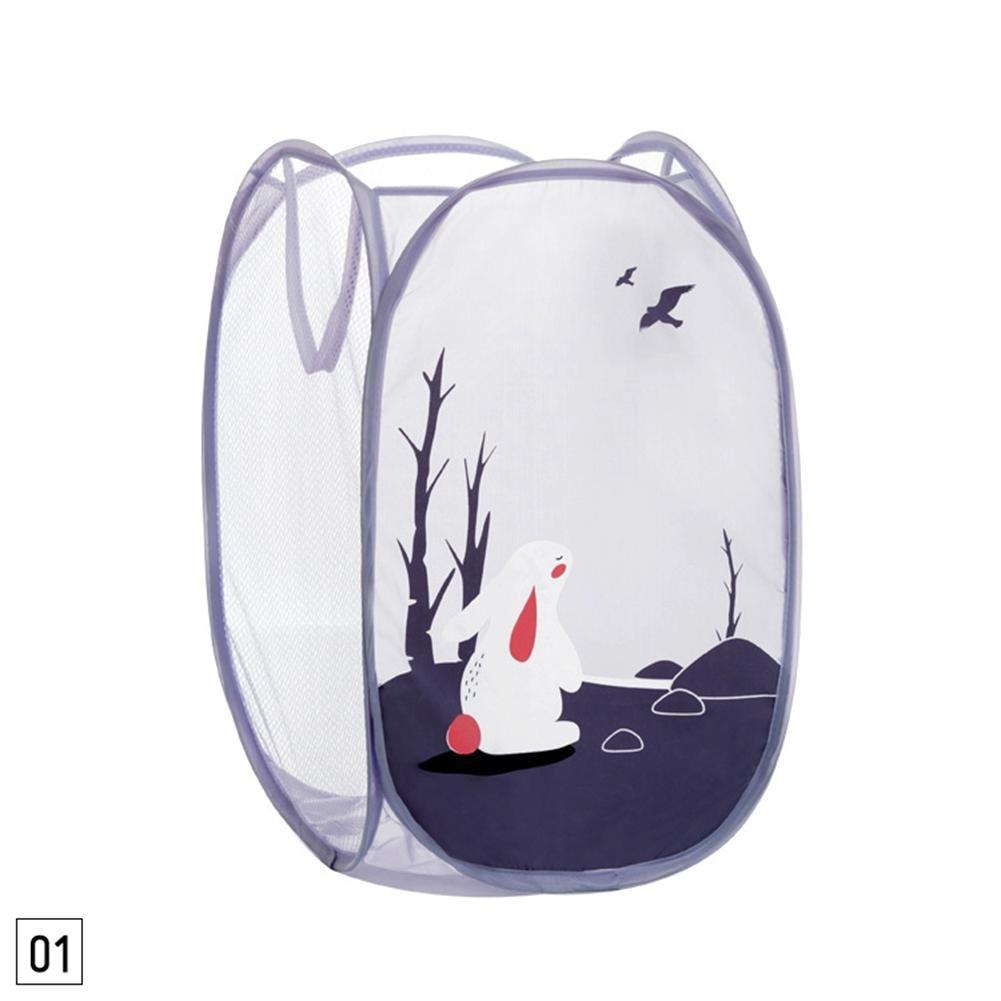 ZHUOTOP Cesta de lavandería plegable con patrón de animales cesta de malla bolsa de almacenamiento