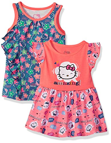 Hello Kitty Baby Girls 2 Pack Knit Dresses With Bows and Ruffles, Coral, 12M