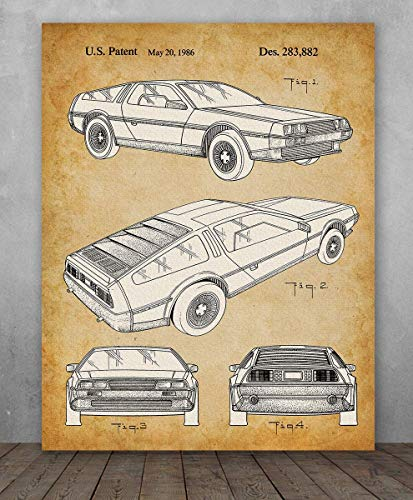 (Poster - DeLorean DMC-12 Patent - Choose Unframed Poster or Canvas - Makes a Great Garage Decor or Gift for Back to the Future Fans)