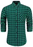 Emiqude Men's 100% Cotton Slim Fit Long Sleeve Button-Down Big Plaid Dress Shirt Medium Green Navy