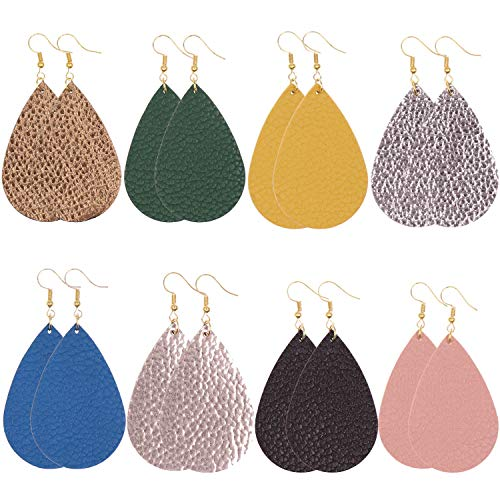 KSQS Leather Teardrop Earrings Set Petal Leaf Drop Earrings Soft and Lightweight Dangle for Women&Girls ()