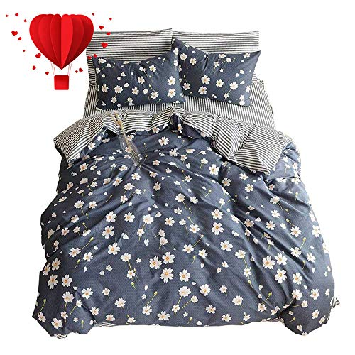 (BuLuTu Vintage Floral 3 Pieces Girls Duvet Cover Set Queen Egyptian Cotton-Super Soft Stripe Kids Bedding Collections Full Navy Blue,Gifts for Daughter,Women,Child,Lover,Friend,Family,NO Comforter)