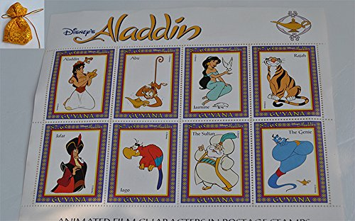 Guyana 1993 Disney's Aladdin Animated Film Characters In Postage Stamps Sheet MNH Val. $7.65 x 8 Rare Collectible Postal Cards Get Free Unique Design Gift