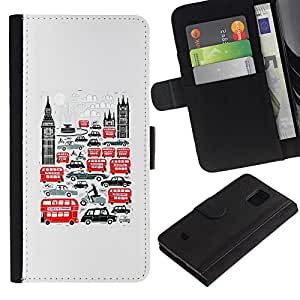 For Samsung Galaxy S5 Mini / Galaxy S5 Mini Duos / SM-G800 !!!NOT S5 REGULAR! ,S-type® Symbols Double Decker Big Ben - Dibujo PU billetera de cuero Funda Case Caso de la piel de la bolsa protectora