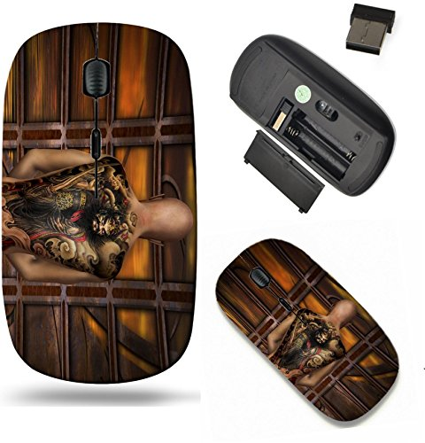 (Liili Wireless Mouse Travel 2.4G Wireless Mice with USB Receiver, Click with 1000 DPI for notebook, pc, laptop, computer, mac book 3d rendering of a praying Samurai with tattoo as illustration Photo 1)