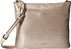 Calvin Klein large north south top zip suede crossbody