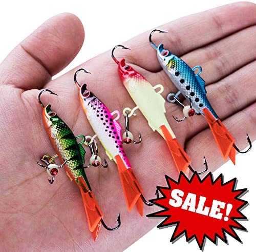 Goture Ice Fishing Lures Lot Lead Jig Head Assorted Size Spoon Hard Bait Hook