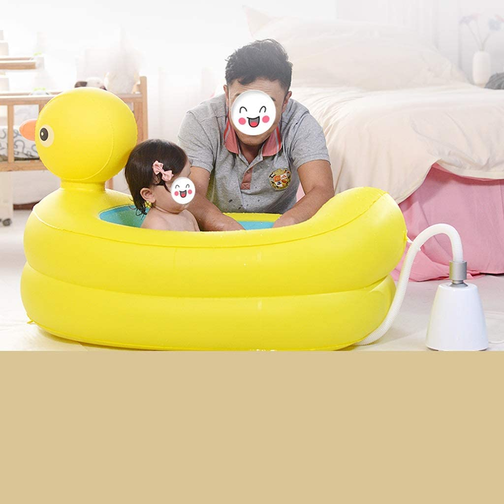B07S2HFZ6F GYF Inflatable Baby Bathtub Baby Bath Tub Toddler Bathtub,Baby Tub Infant Inflatable Tub Baby Folding Tub Children Swimming Pool Yellow 111X70X64CM (Size : B) 5102B2B47ugoL