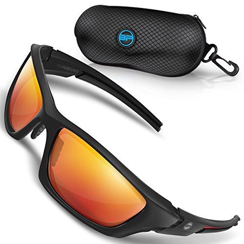 glasses for Men/Women Sport TR90 Light Weight Frames and Polarized Lens (Black/Red, Orange Mirror) ()