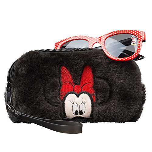 Minnie Mouse Girls Sunglasses & Soft Fuzzy Carrying Case Set- 100% UV Protection for Kids -