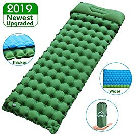 "Sleeping Pad for Camping Backpacking, Thickened 3.7"" & Widened 27.5"" Ultralight Compact Camping Pad with Pillow Lightweight Air Mattress Inflatable Sleeping Mat for Hiking, Travelling"
