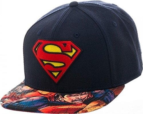 Marvel Superhero Avengers and Superman Logo Sublimated Adjustable Snapback Cap (Superman (Superhero Graduation Cap)