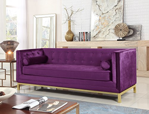 Iconic Home Dafna Club Sofa Sleek Elegant Tufted Velvet Plush Cushion Brass Finished Stainless Steel Brushed Metal Frame Couch, Modern Contemporary, Purple