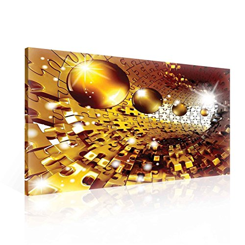 Ready to Hang Canvas Wall Art - 3D Optical Illusion Balls Spheres in Jigsaw Tunnel - XXL - 39