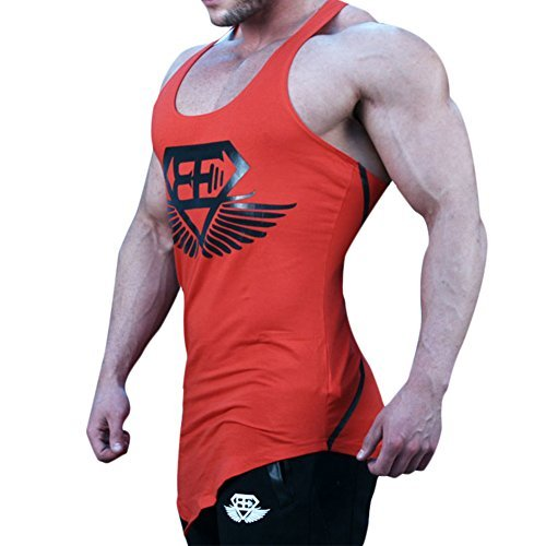 Men Muscle Fitness Gym Stringer Tank Tops Bodybuilding Workout Sleeveless Shirts (Red, US SMALL(Tag L)) (Jordan Clothing For Teens)