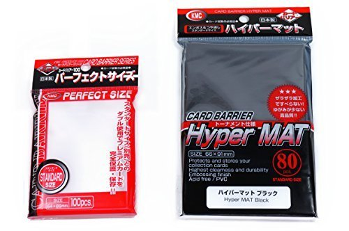 (KMC Hyper Mat Sleeve Black (80-Pack) + 100 Pochettes Card Barrier Perfect Size Soft Sleeves Value Set !)