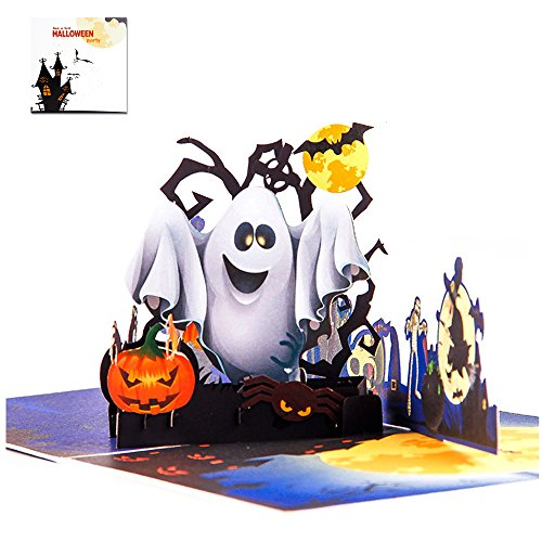 Halloween 3D Pop Up Greeting Card - Ghost Pumpkin Witch Bat Broom Spider Castle Mansion Haunted House Cottage Village Card – Thank You Card Handmade DIY Card for Boys, Friend, Family, Kid, Child