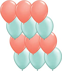 Andaz Press 11-inch Latex Balloon Duo Party Kit with Gold Cards & Gifts Sign, Coral and Mint Green, 12-pk, Bridal Baby Shower Decorations
