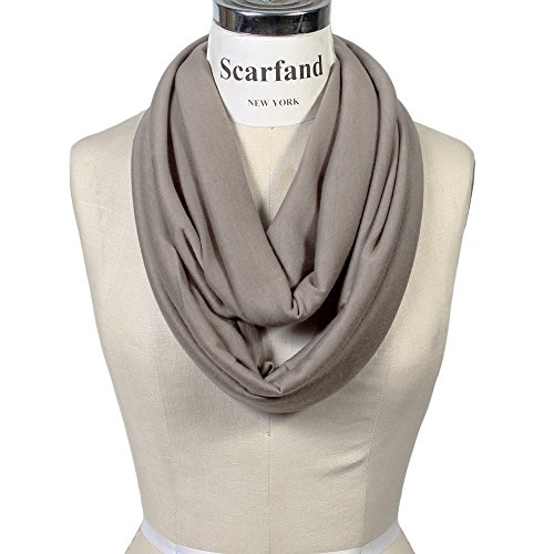 Scarfand's Super Soft Light Weight Solid Color Infinity Loop Scarf (Tan)